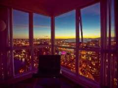 Views of English Bay Water, False Creek and the North Shore Mountains at this 1 Bedroom Penthouse in Downtown Vancouver's Trendy Yaletown.