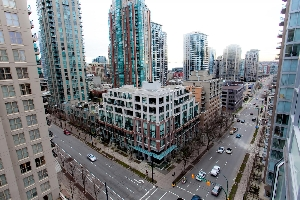 North East City View in this 1 Bedroom + Den, Corner Unit at the Miro in Yaletown, Downtown Vancouver.