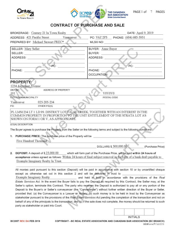 Sample Contract Of Purchase & Sale Mike Stewart PREC