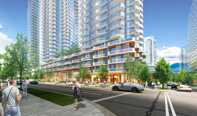 The former White Spot site will be transformed into Alberni Towers designed by Pelli Clarke Pelli Architects.