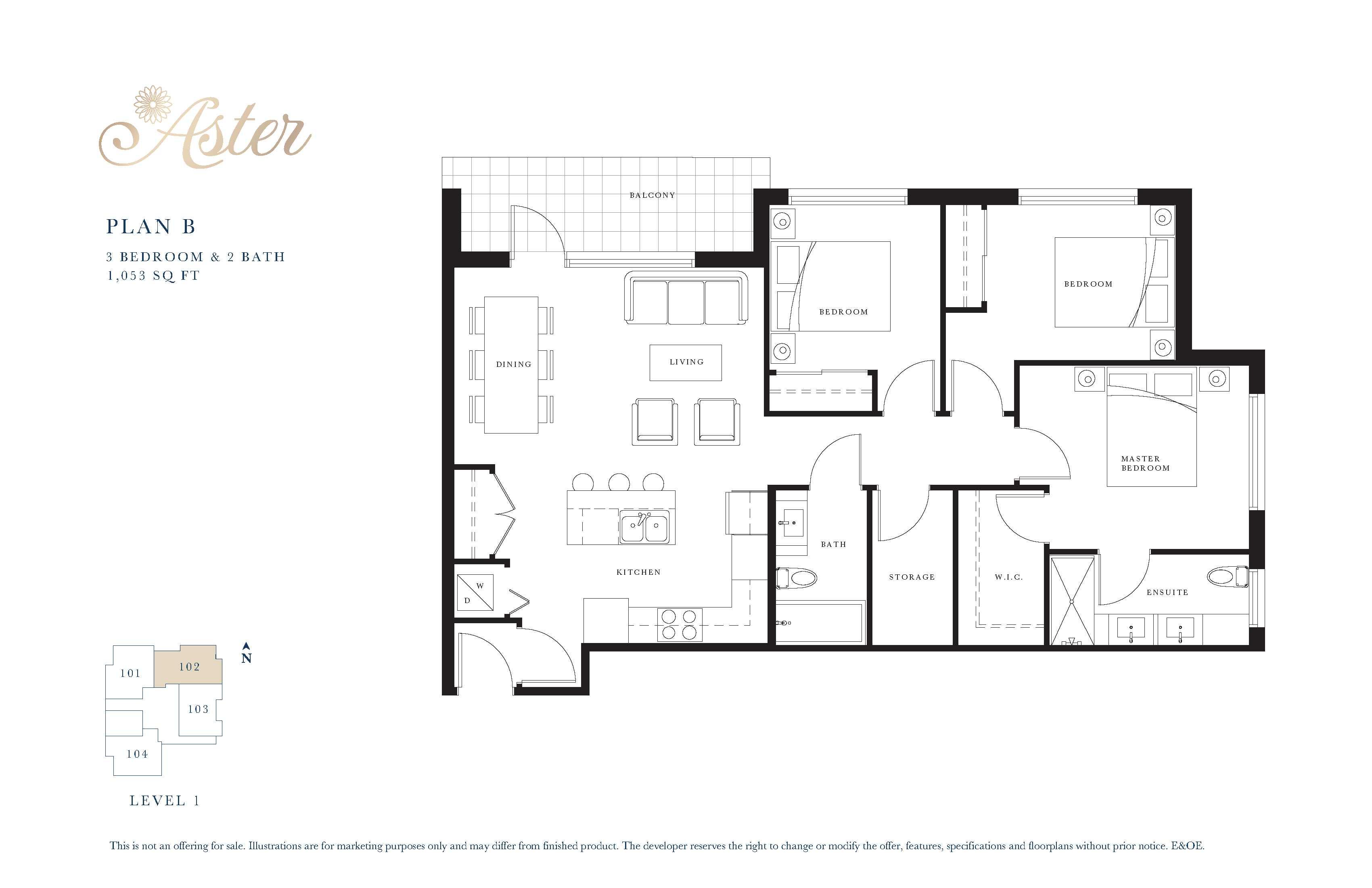 Plan B 3 BED & 2 BATH 1053 SQFT