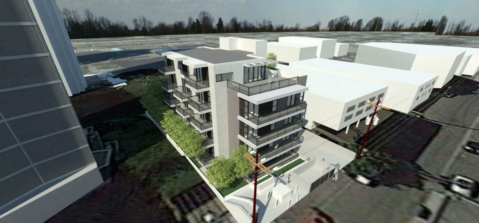 Rendering of laneway view for 1021 Burnaby, Street, Vancouver luxury condo development.