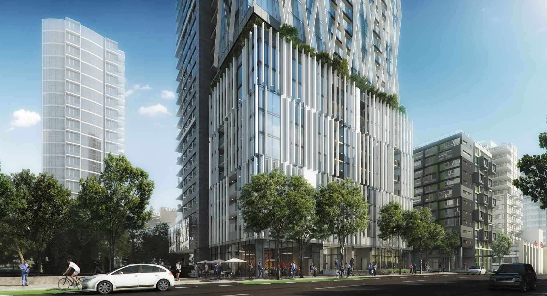 8X On the Park 1111 Richards Street render at grade level.