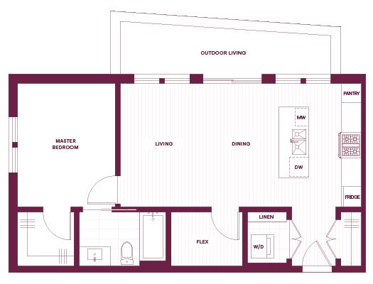 Cambria Park 1-Bedroom K Floor Plan.