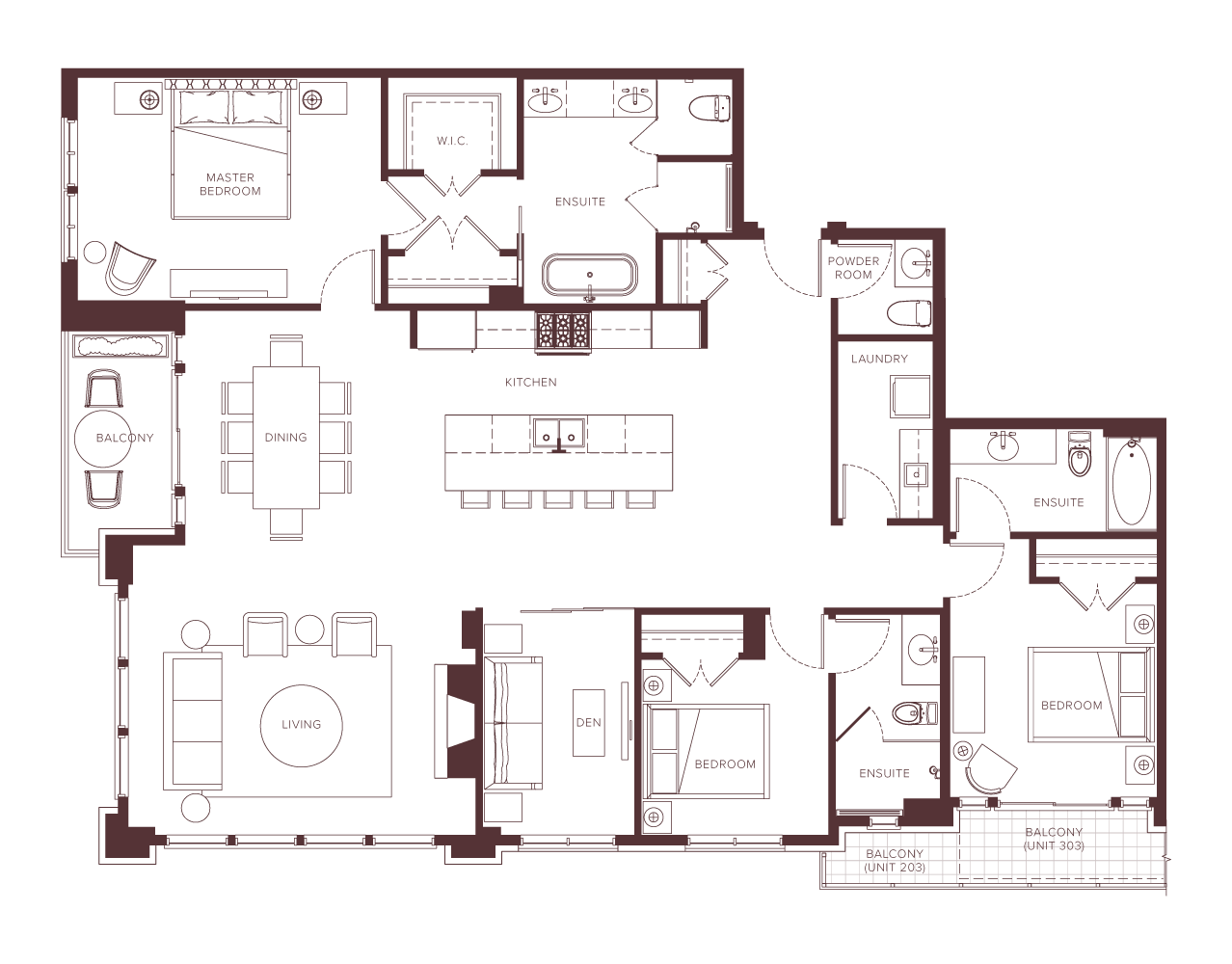 Chateau Laurier 3-bedroom floorplan.