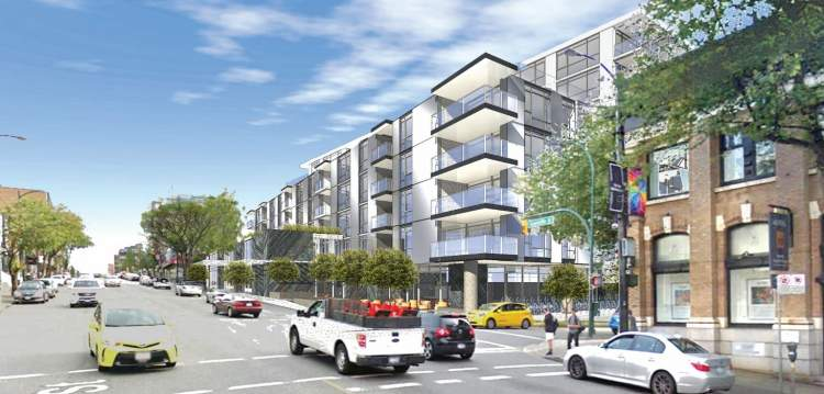 Artist rendering of Vancouver luxury presale condos on Granville Street.