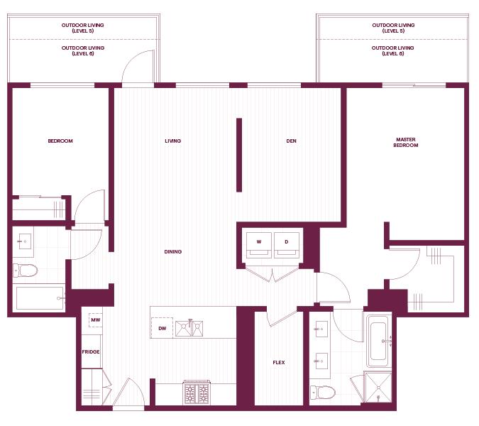 Cambria Park 2-Bedroom & den F1 Floor Plan.