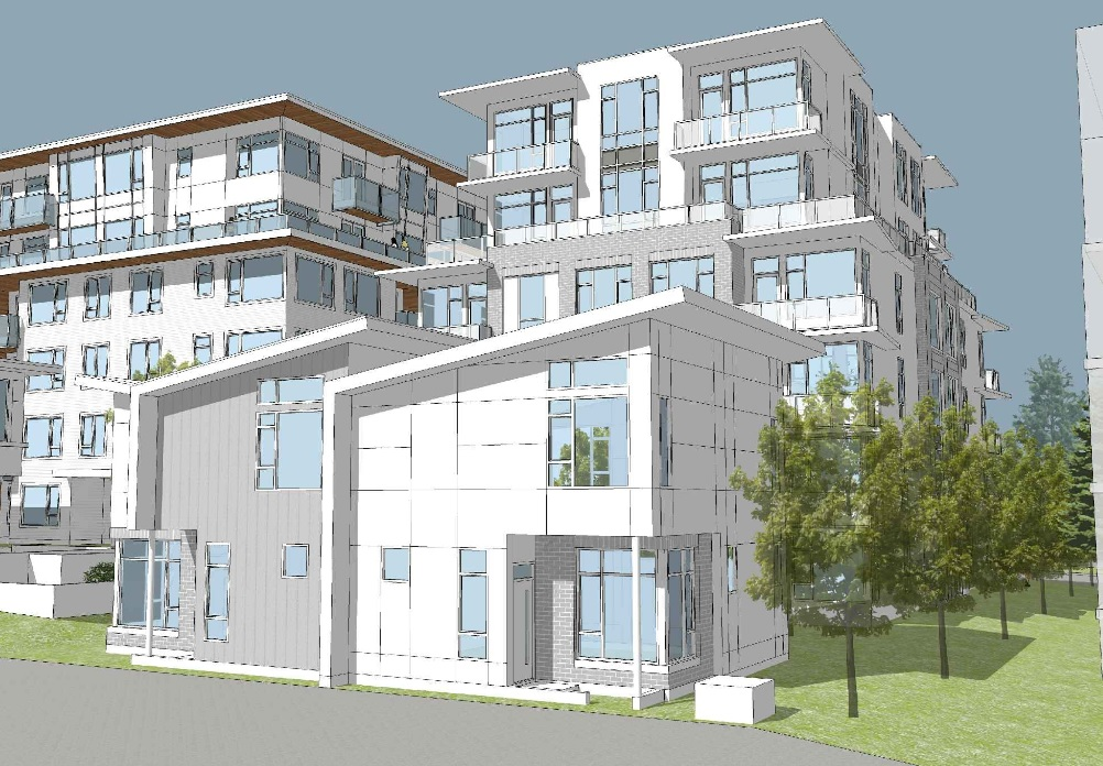 Laneway view of Pennyfarthing's latest Cambie Corridor condo and townhouse development.