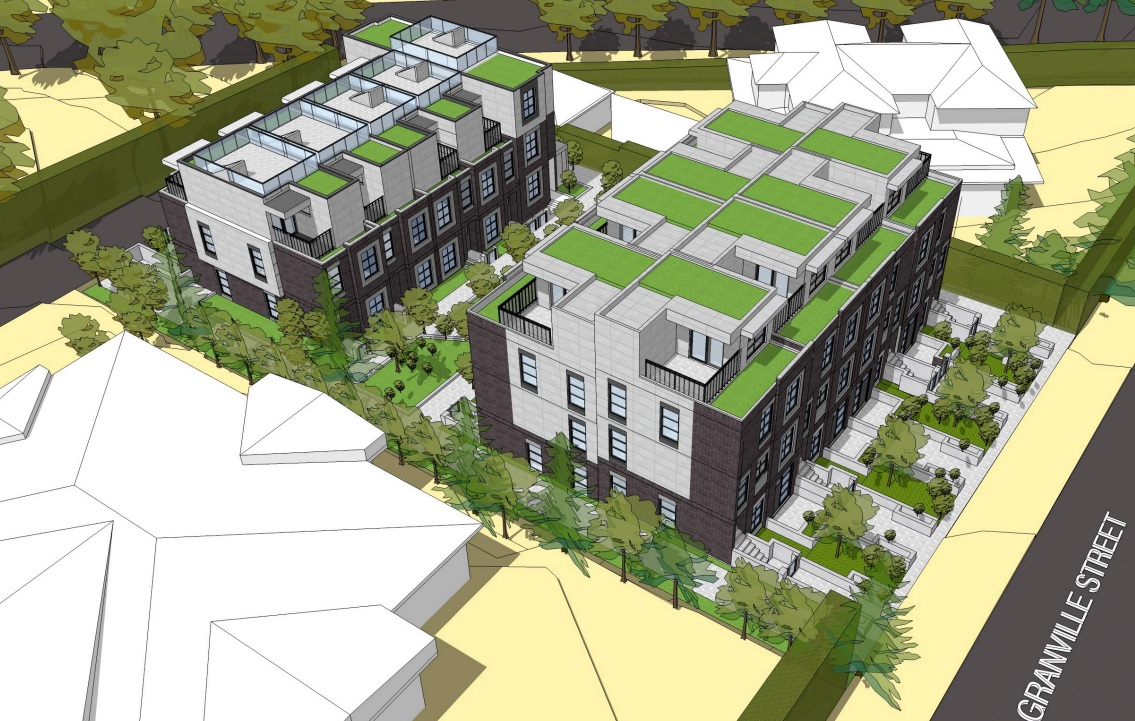 Aerial view of Shaughnessy townhouse development designed by Stuart Howard Architects.