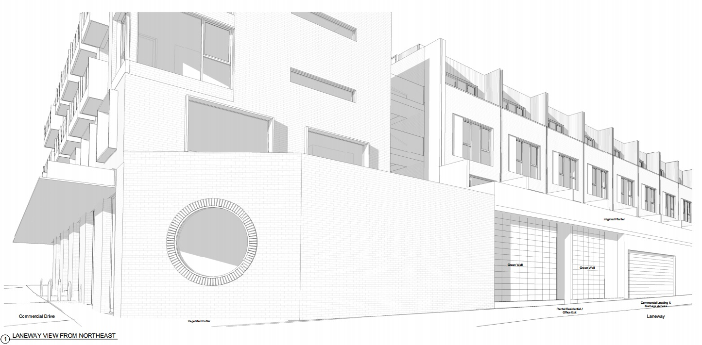 Laneway rendering of 485 Commercial Drive by Cressey Development Group.