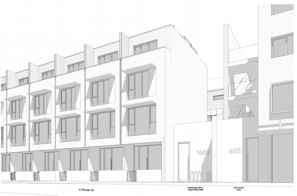 Pender Street rendering of Cressey Development's mixed-use project at 485 Commercial Drive.