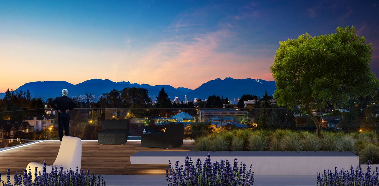 Aperture Vancouver Presale Condos Rooftop Deck & View Rendering Mike Stewart