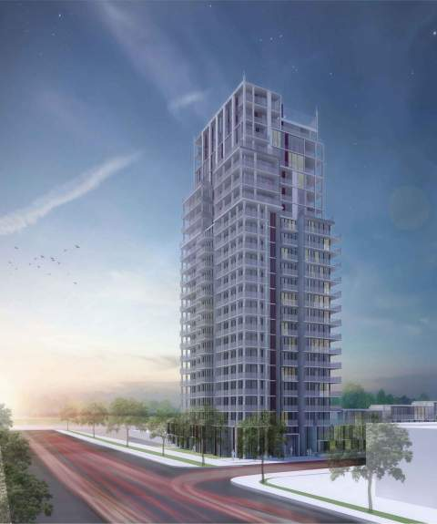 Artist Rendering Of Bourdeaux Luxury Condominiiums At Willingdon & Juneau In Burnaby, BC.