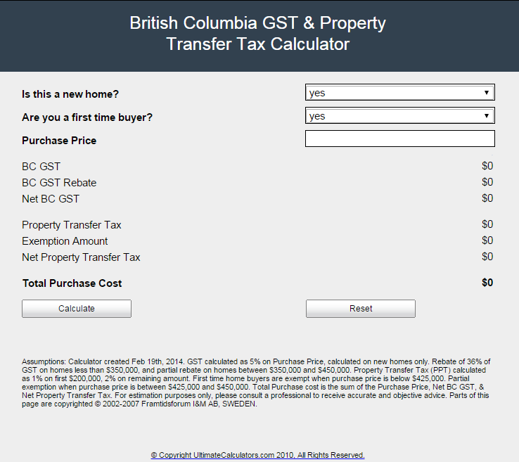 bc gst tax rebate calculator including ptt for vancouver real