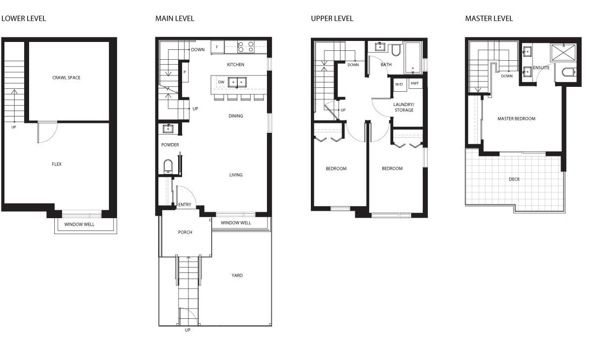 4521 Earles townhouse floor plan by Vicini Homes, Vancouver.