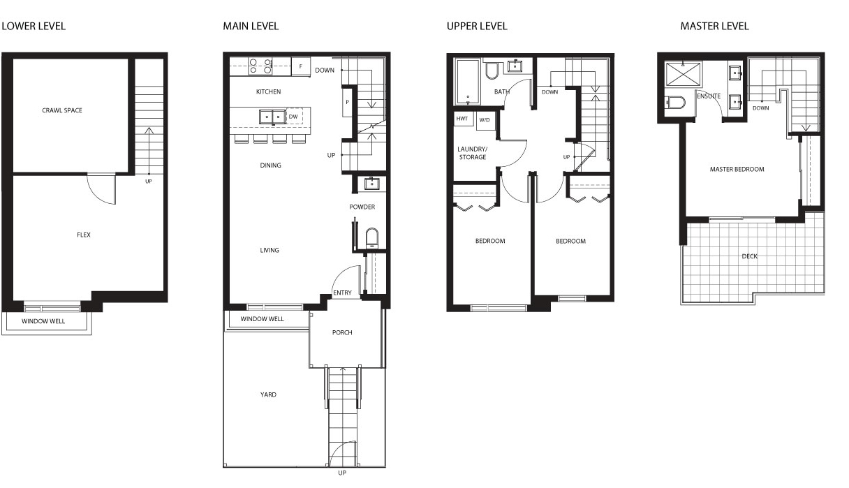 4523 Earles townhouse floor plan by Vicini Homes, Vancouver.