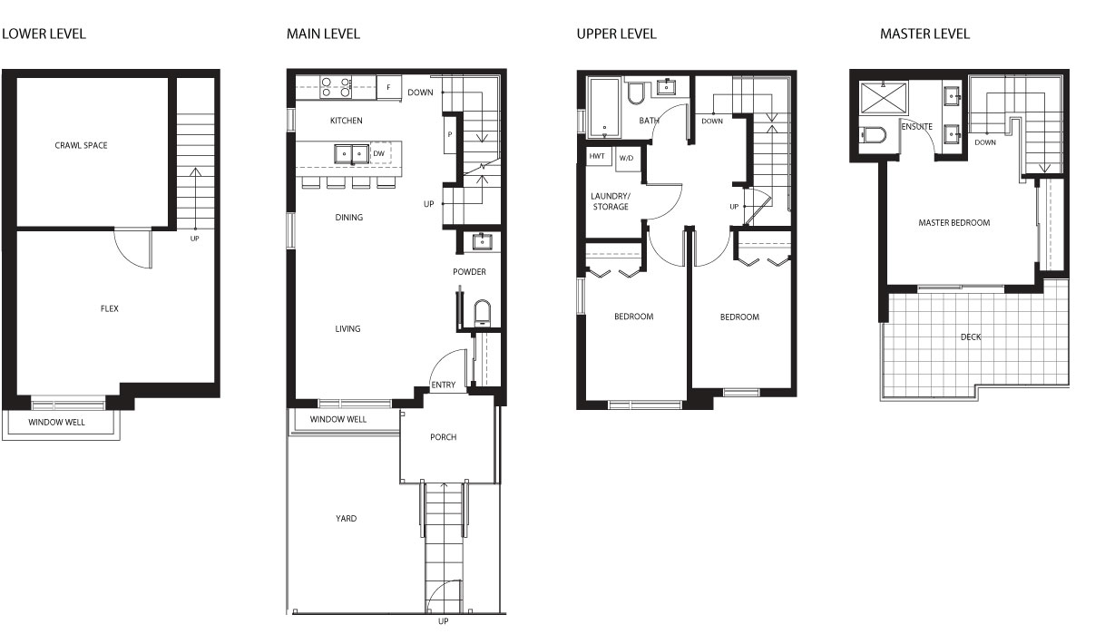 4527 Earles townhouse floor plan by Vicini Homes, Vancouver.
