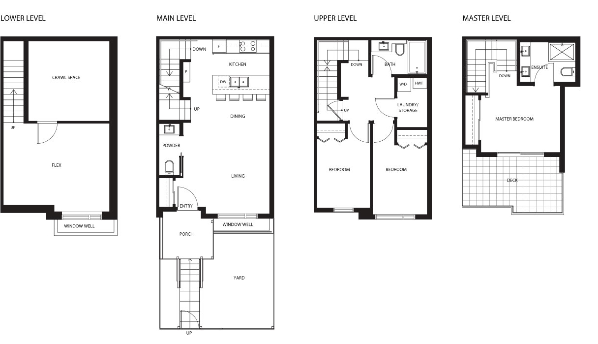 4531 Earles townhouse floor plan by Vicini Homes, Vancouver.