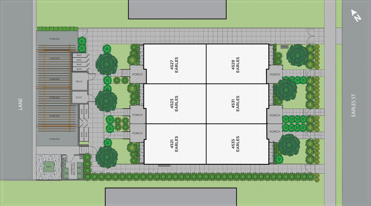Lot plan for Earl Vancouver townhouses by Vicini Homes.