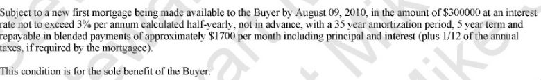 Subject To Financing Example