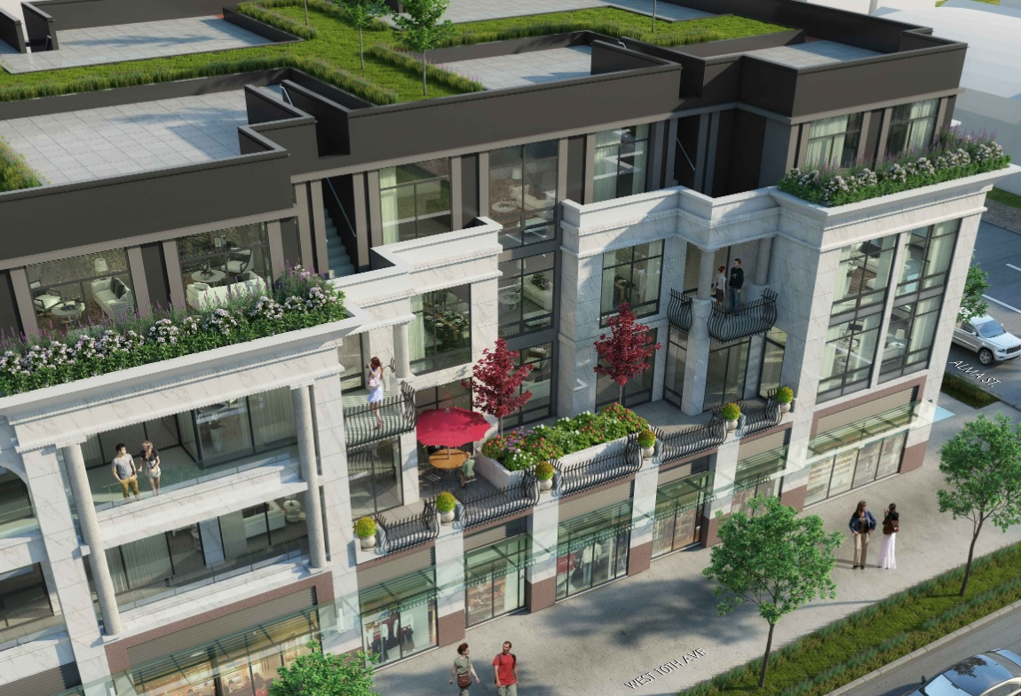 Aerial detail view of Landa Global's Alma & 10th condominum development in Kitsilano.
