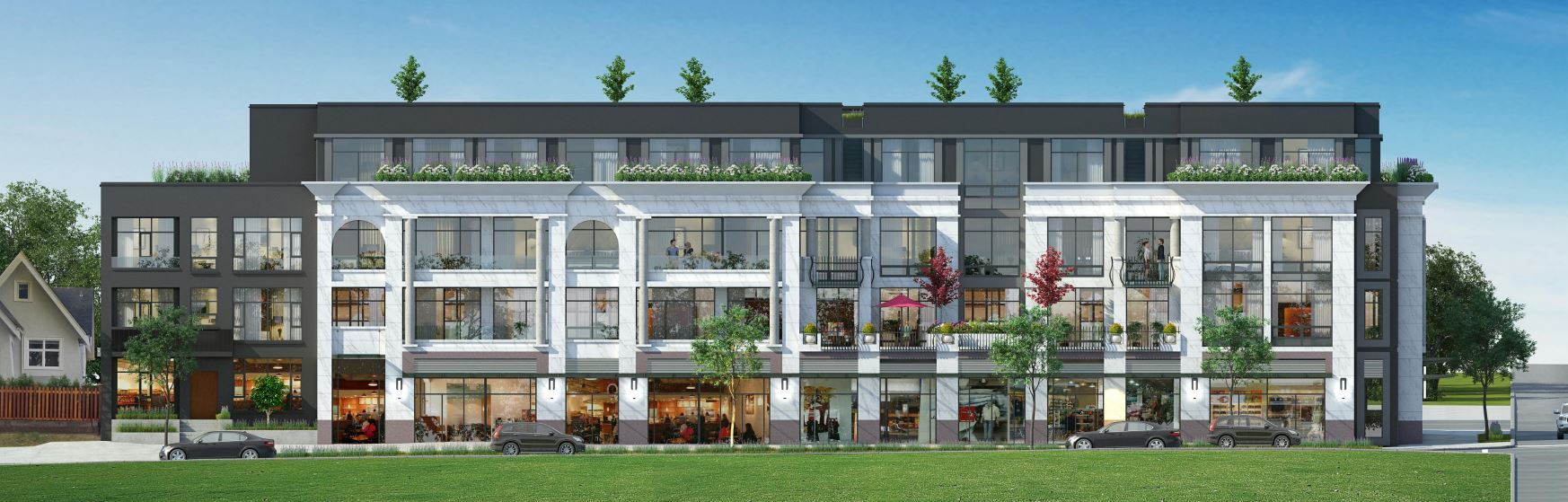 South elevation rendering of Alma & 10th Vancouver presale luxury condos.