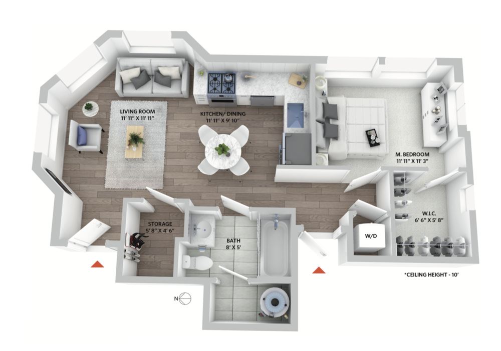 Floorplan for 1-bedroom condo in restored heritage house.
