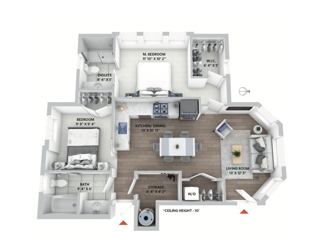 Floorplan for 2-bedroom condo in restored Vancouver heritage house.