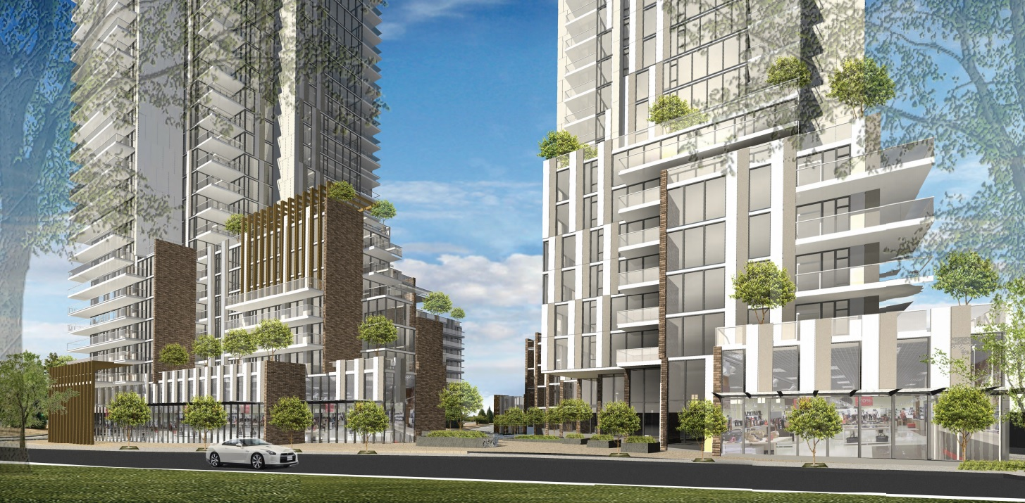 Artist rendering of the Cambie Gardens Phase I development as seen at street level