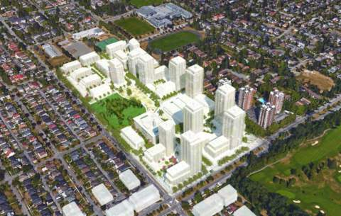 Aerial Perspective Of Cambie Gardens Master-planned Community.