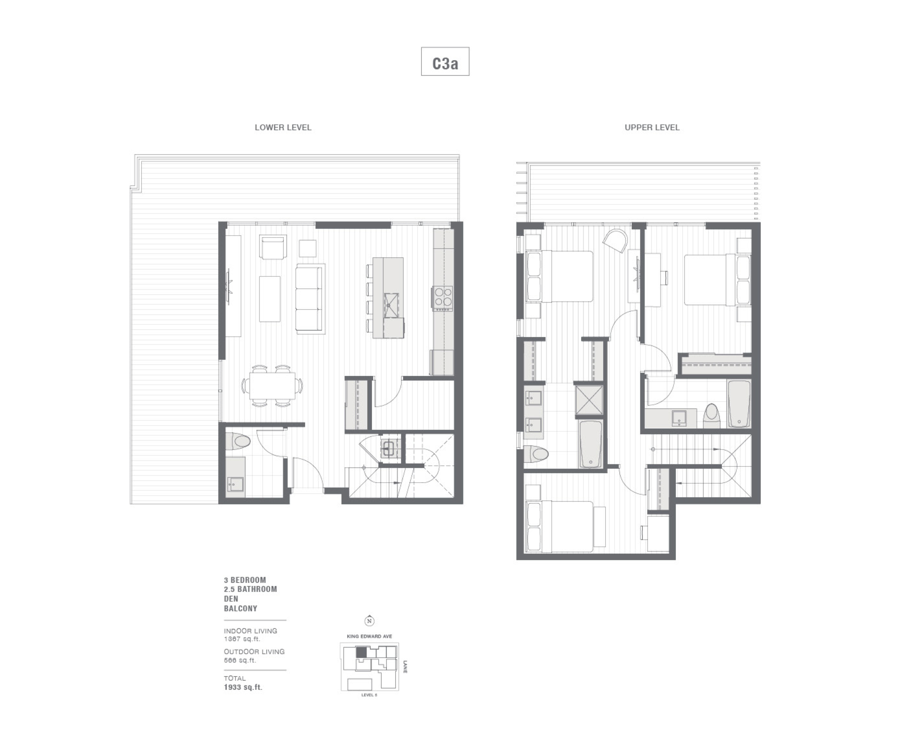Cambie + King Edward 3-bedroom floorplan.