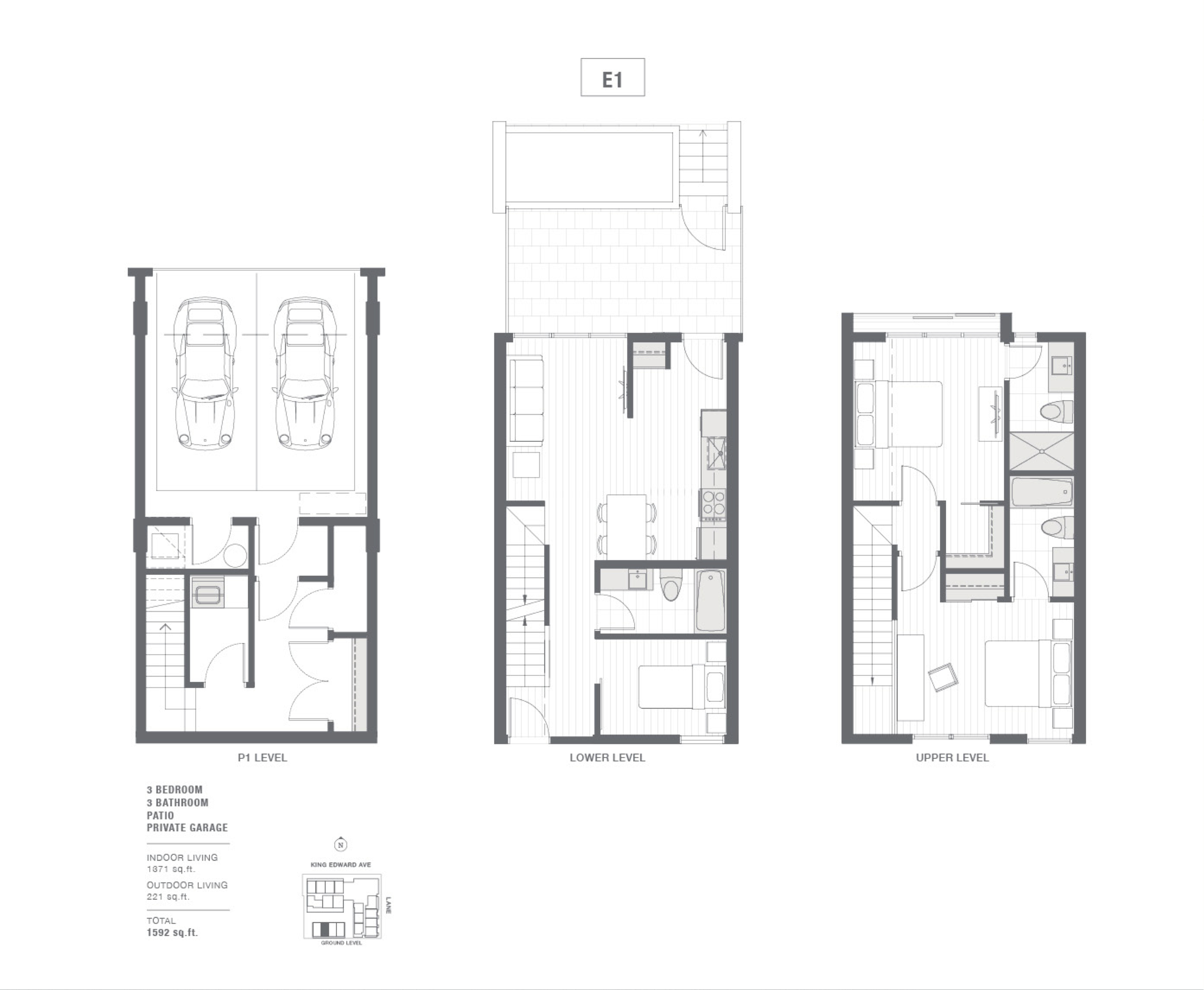 Cambie + King Edward townhouse floorplan.