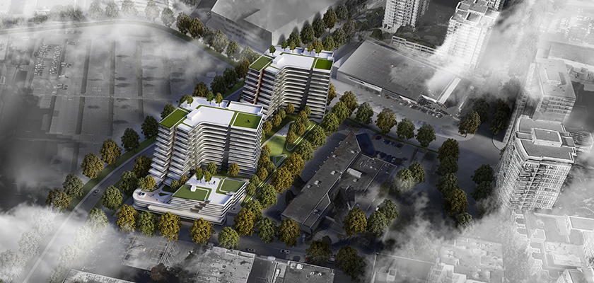 Birds-eye view of Landa Global's Richmond twin tower mixed used development at Elmbridge & Gilber.