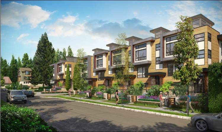 Artist rendering of Continuum at Nature's Edge, the latest North Vancouver townhome development by Brody.
