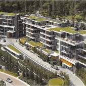 Aerial view showing artist's conception of British Pacific Properties' newsest luxury condominum development.