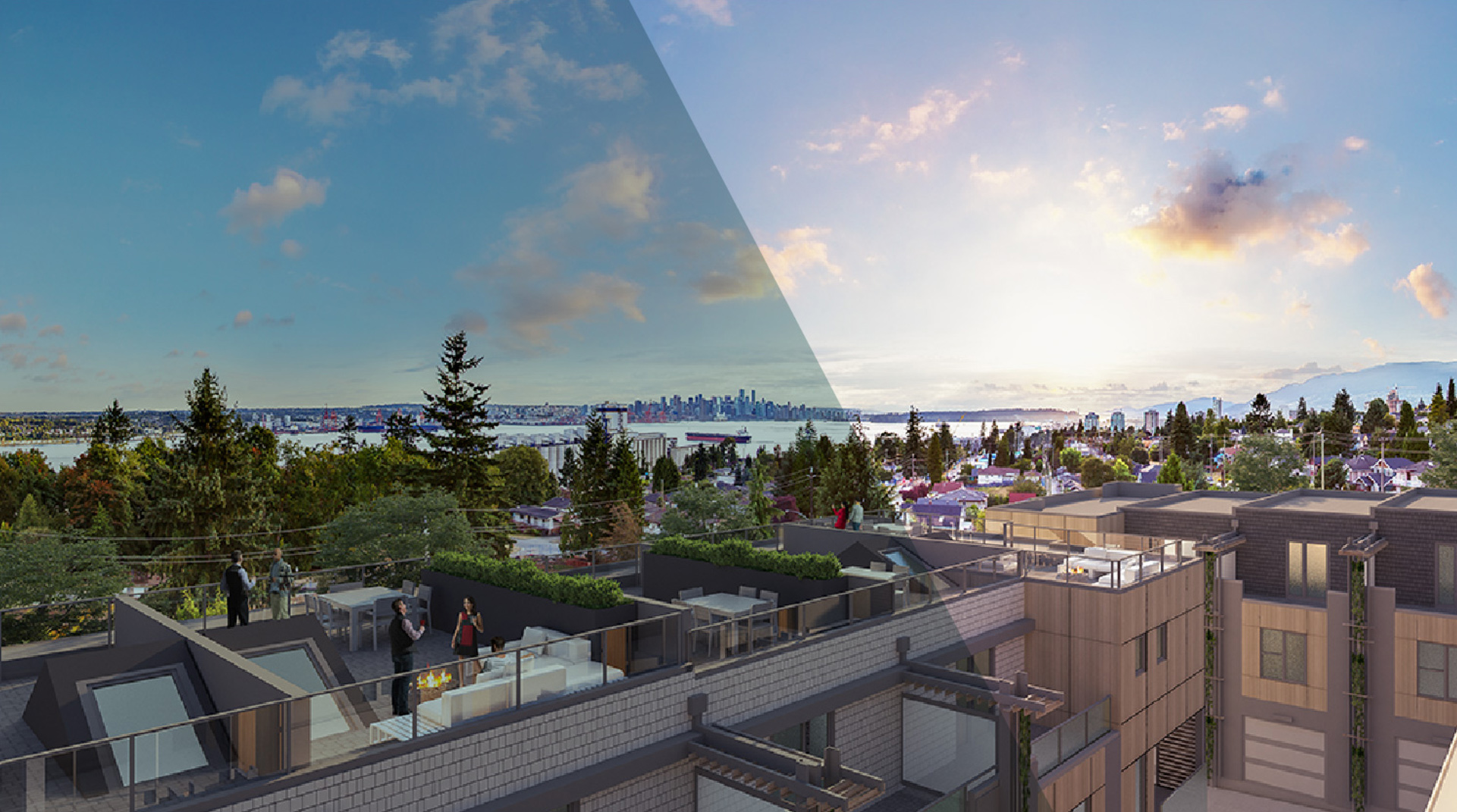 View from the rooftop patio of Lower Lonsdale's Evolv35