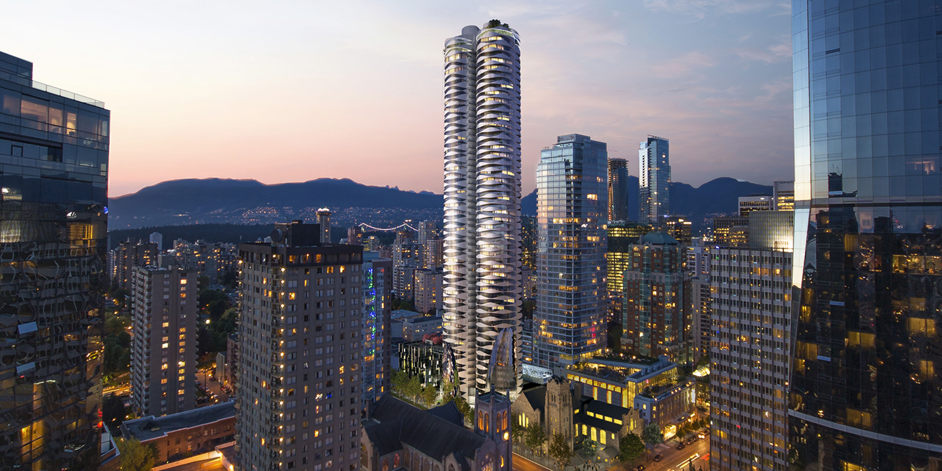 City view of Burrard & Nelson by Bing Thom.