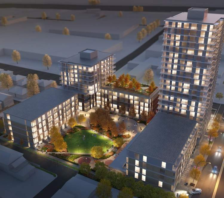 Artist rendering of aerial perspective of Fraser Commons.