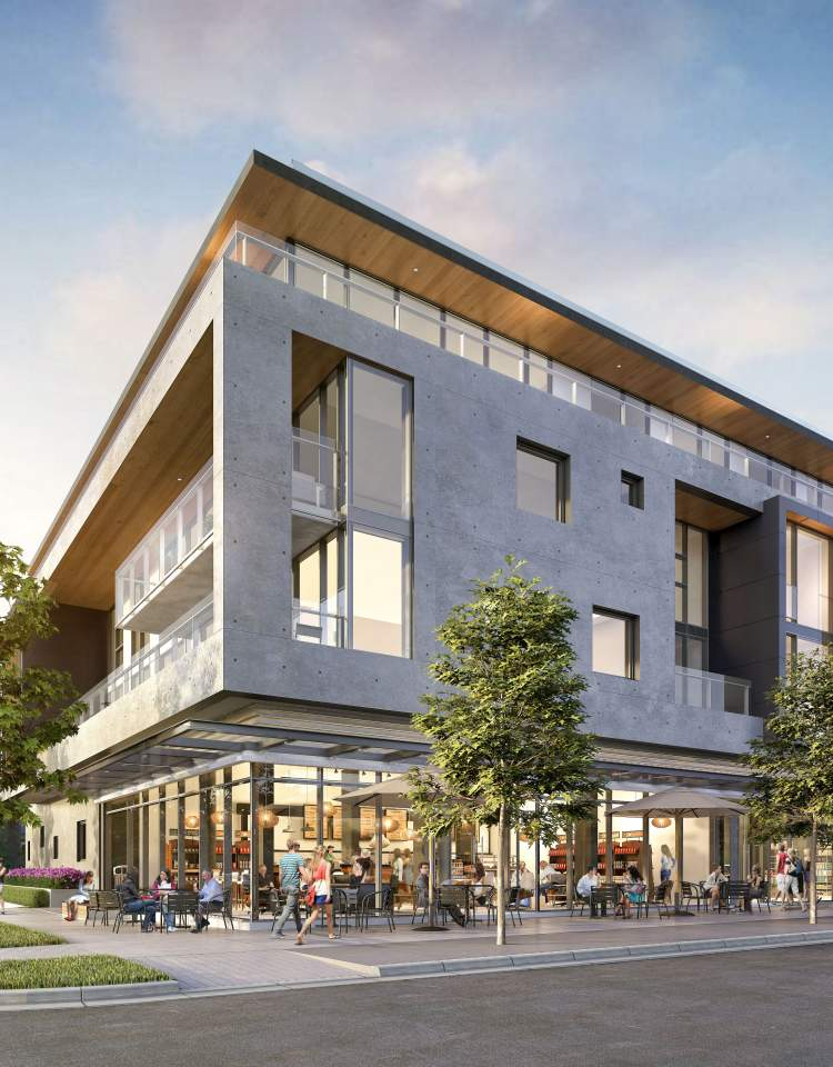 The proposed mixed-use concrete building at Heather Street and West 17th Avenue.