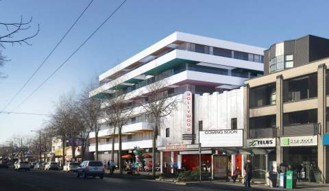 Rendering Of New Kitsilano Pre-sale Condos And Renovated Hollywood Theatre.