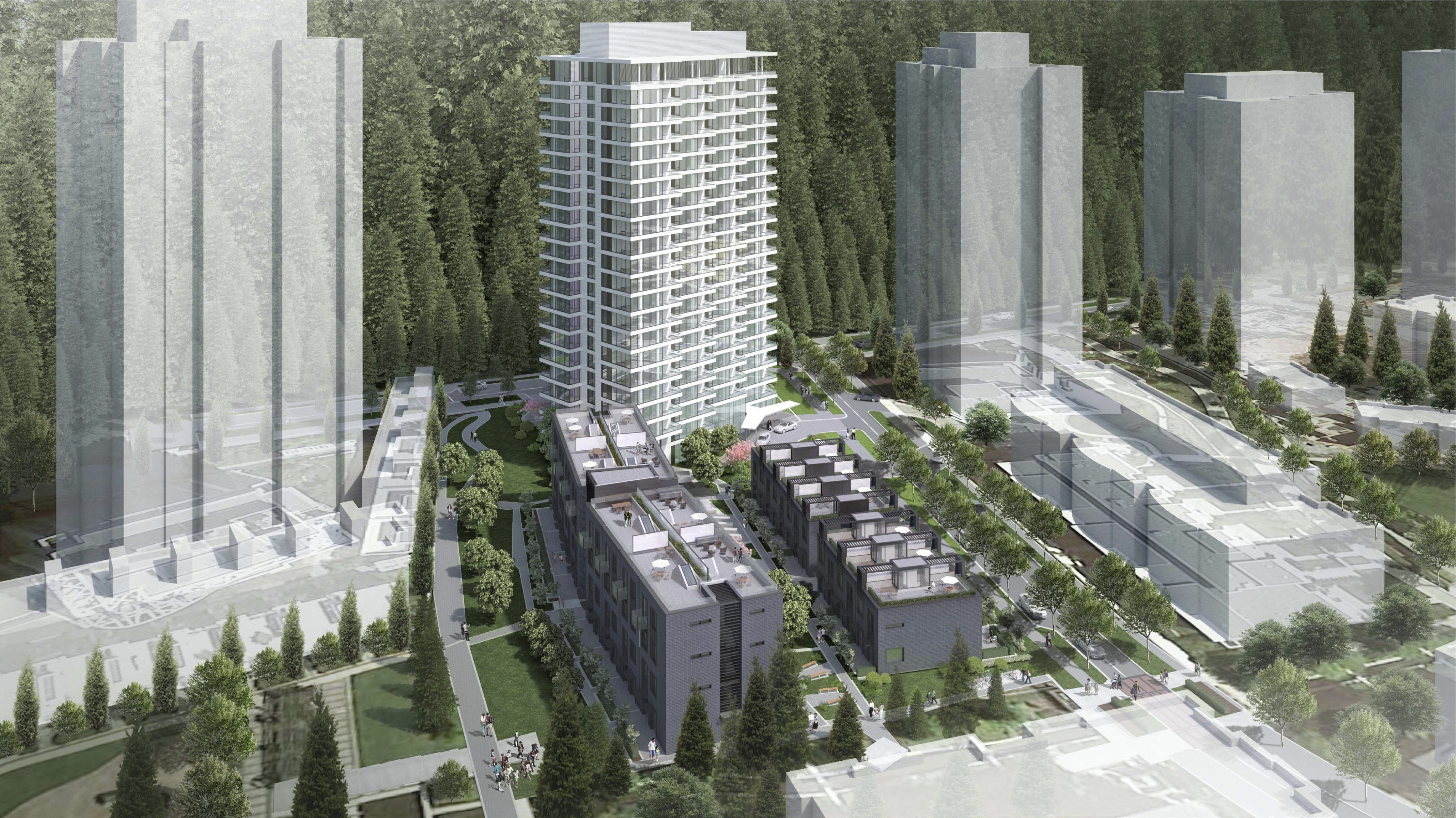 Aerial view of Ivy on the Park at UBC Properties.