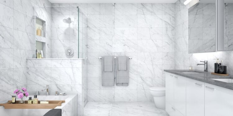 En suite design for Townline's Jasmine at The Gardens in South Richmond.