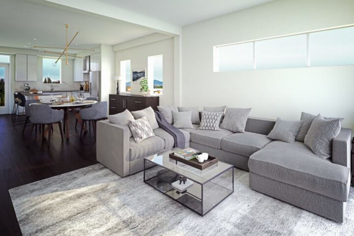 Design concept for Jasmine at The Gardens living room.