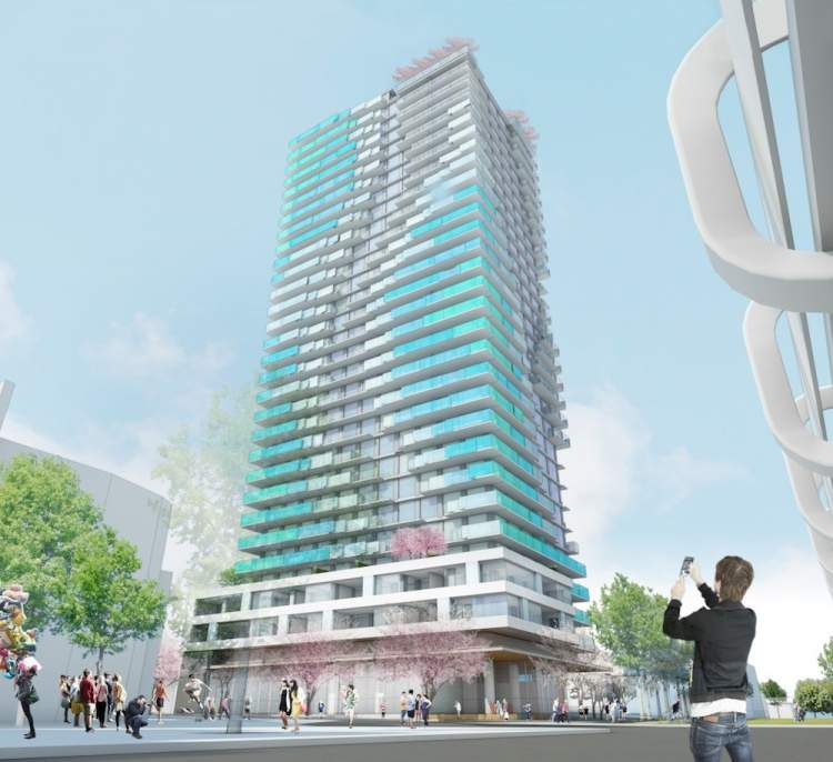 Render of Joyce west facade by Henriquez Partners.
