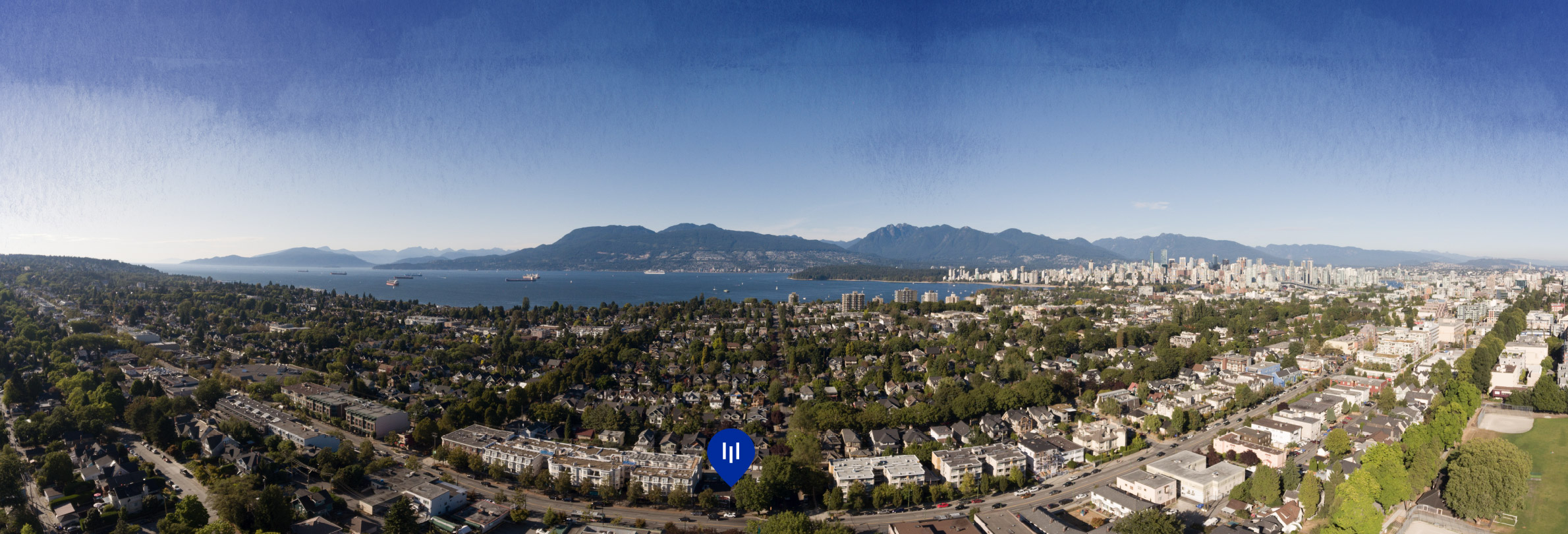 Panorama photo showing Monument Kitsilano location.