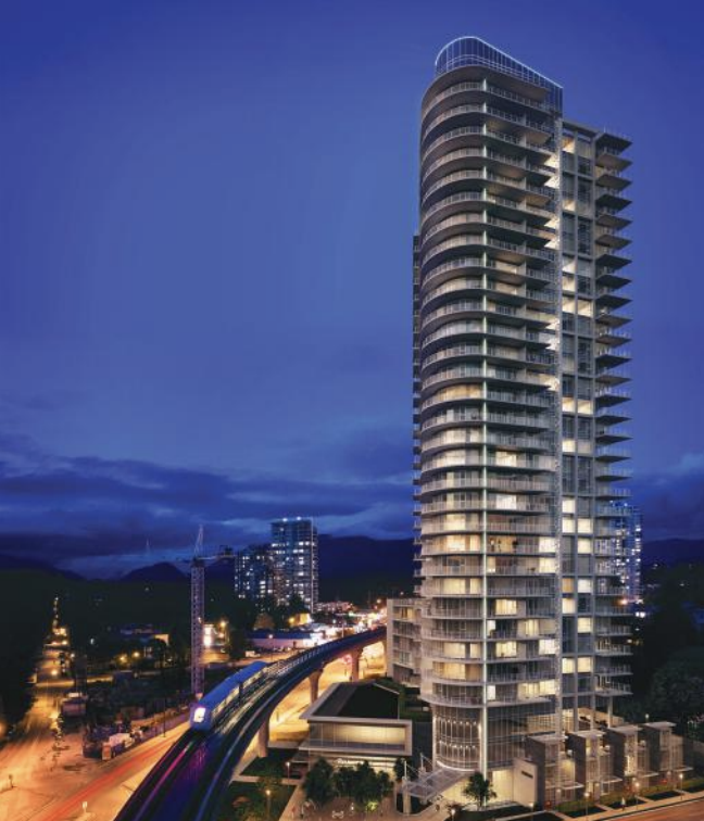 Artist rendering of Meridian presale Coquitlam condominiums at night.