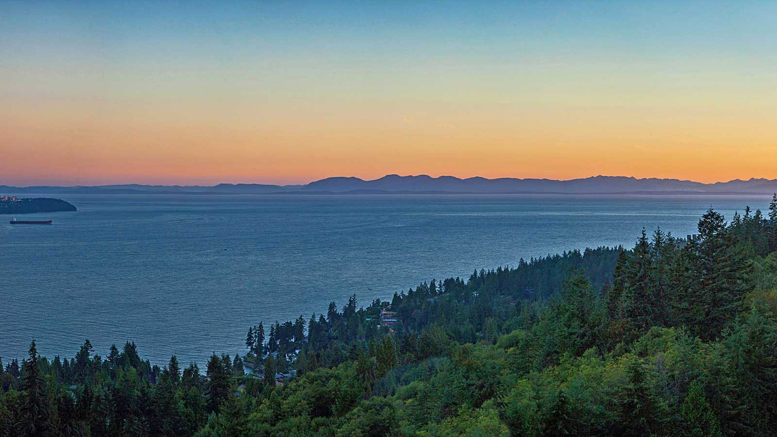 View over the Gulf of Georgia from the Courtenay luxury condominiums in West Vancouver.