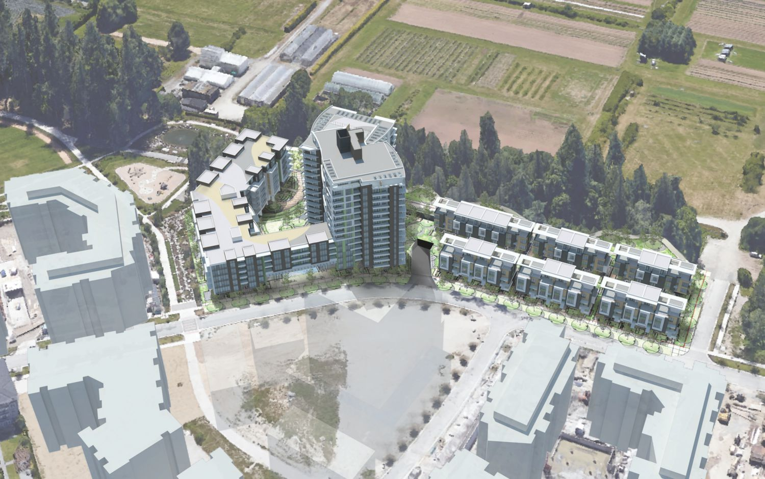 Aerial context for The Residences at Nobel Park.