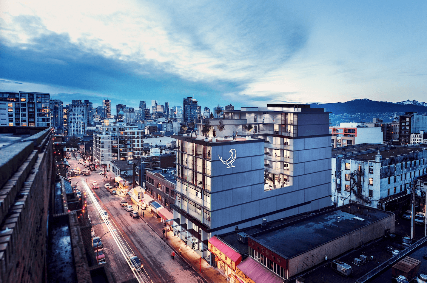 Aerial view of new condo and townhome development in Vancouver's Chinatown.