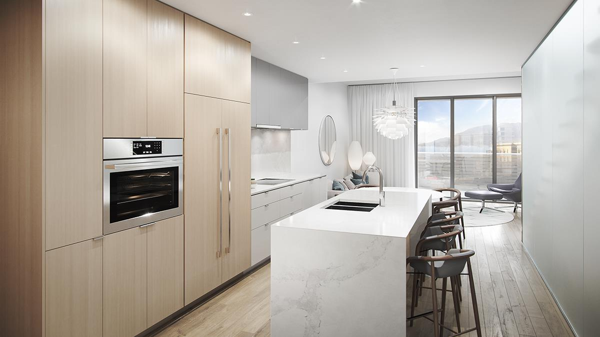 Artist's concept of kitchen design for new Vancouver Chinatown luxury condos.